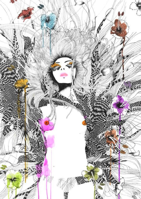Limited Edition Fashion Illustration Art Print //Feminine and floral style // Revolution Seventy