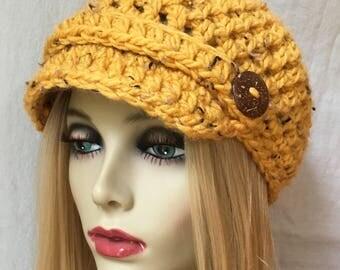 Womens Hat, Beanie,  Honey, Yellow, Specks, Chunky, Warm. Teens, Winter, Ski Hat, Birthday Gifts for Her, JE26N2