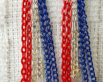 Patriotic red, sterling silver and blue aluminum chain Earrings