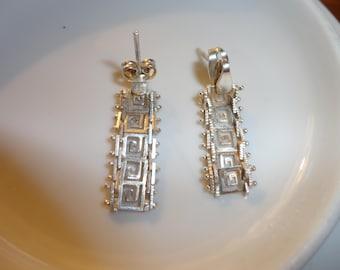 Sterling Silver Greek Key Post Earrings