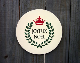 Merry Christmas, Joyeux Noel, French Sign, Holiday Sign, Ivory, Red, Green, Holiday Wall Art, Round Christmas Sign, Hand Painted, Wood Sign