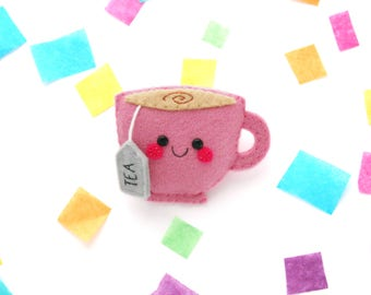 Pink Teacup Brooch, Jacket Accessory, Tea Present, Felt Badge, Kawaii Gift for Friend