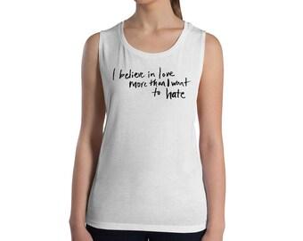 Believe In Love Luxe & Tough As F*ck Tank in White