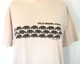 Vintage Wild Animal Park 1970s T-Shirt Rhino Graphic Tee Cotton Shirt M/L