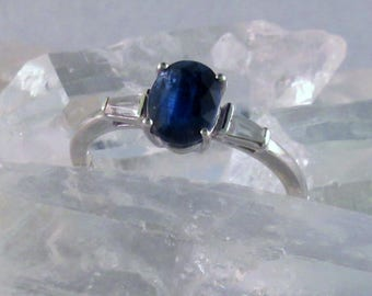 Kyanite and White Sapphire 925 Sterling Silver Ring.  Size 8,