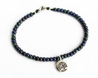 Tree Tag Blue Bead Bracelet, Tree Tag Blue Bead Anklet