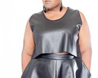 """Plus size Vegan Leather Front Short Culottes 17"""""""