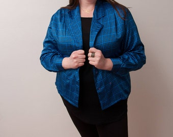 Vintage Oscar de la Renta Blazer - 80s Blazer - Blue and Black Patterned Jacket - 1980s Fashion - Size Large/XLarge - OdlR Jacket