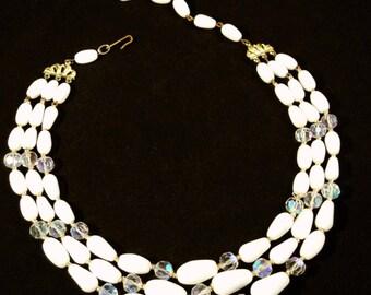 Vintage White Choker, Vintage Jewelry, Beaded Vintage Necklace, Multi Strand Crystal Choker, Retro White Necklace MidCentury Choker Necklace