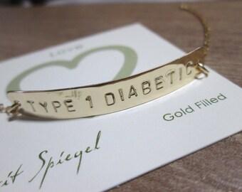Medical Bracelet-Type 1 Diabetes Bracelet-Gold Medical Alert Type 1 Diabetic Bracelet-Hand stamped Med Bracelet-Medical Jewelry-Allergy ID