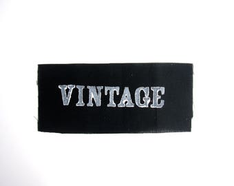 Vintage hand stamped patch, hand made patches, black and white patch