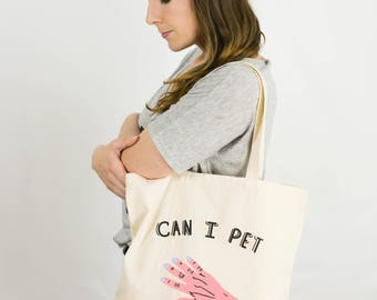 SALE Can I Pet Your Dog? Creepy Hand Tote Bag / Hand-Screen Printed Canvas Tote / Coffee Break Clothing