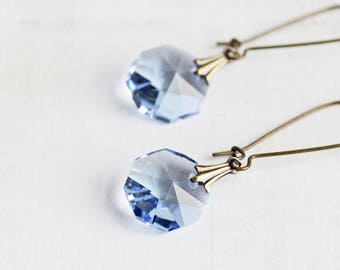 Light Blue Earrings, Blue Crystal Earrings on Antiqued Brass, Blue Dangle Earrings, Simple Jewelry