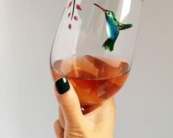Hummingbird Hand Painted Wine Glass