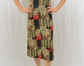 Vintage Patchwork Midi Dress, Size Small, Rose Print, Hippie, Hipster, Boho, Summer Dress, Earthy, Festival Clothing