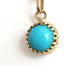 Turquoise Pendant 14k Gold Crown, December Birthstone, Handmade