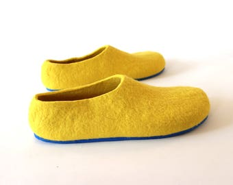 Unisex Felted Wool Yellow Slippers Handcrafted Shoes, Mix and Match 7 Color Rubber Soles for Outdoors Indoors Snow Boots Unisex size US 4-16