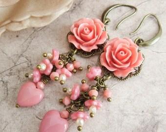 Peach flower earrings, dangle coral earrings, romantic jewelry, gift for her, peach rose jewelry, rustic earrings, country wedding