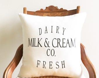 throw pillow, milk & cream company pillow cover, dairy fresh pillow, farmhouse, farmhouse style, modern farmhouse decor, fixer upper decor