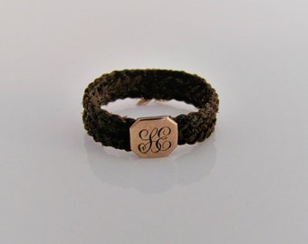 Victorian Woven Hair Mourning Ring. 9K Carat Gold Monogram Initial Shield. Antique English Memento Mori Sentimental Love Token Band Ring.
