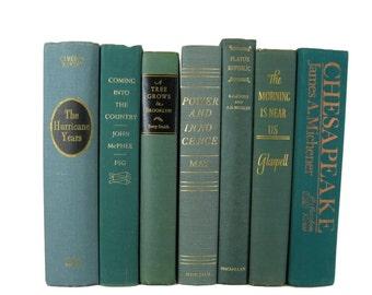 Green Home Decor, Traditional Decor, Book Set , Decorative Books , Shabby Chic Decor , Vintage Books , Set of Books , Decades of Vintage