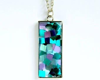 blue pendant, resin pendant, shiny, confetti pendant, clear, modern, minimalist, statement