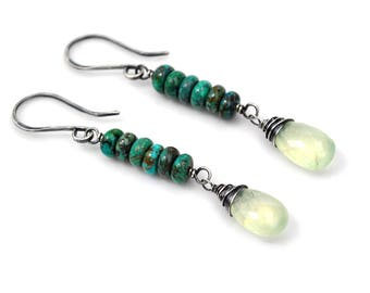Linear Turquoise Earrings, Glowing Pale Green Prehnite & Natural African Turquoise Dangles, Oxidized Silver Gemstone Dangle Earrings