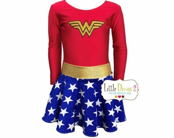 Wonder Women Leotard & Skirt (Child) Costume