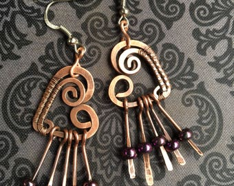 Heart Dangle Copper Wire Wrap & Purple Glass Beads Earrings  surgical Steel hooks