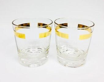 Set of Two Mid Century Gold Bar Tumbler Glasses