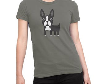 Boston Terrier shirt, womens grey t-shirt with Boston Terrier illustration, fabulous gift for her