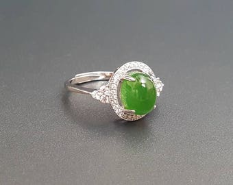 Jade Ring Sterling Silver Size 8 Adjustable Band