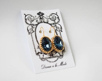 Navy Blue Swarovski Crystal Earrings, Dark Blue Earrings, Regency Jewelry, Rococo Earring, Blue Crystal 19th Century, Historical Earrings