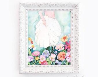 Girl Walking Through Flowers Watercolor -  Art Painting Print