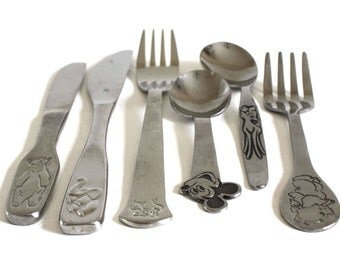 Stainless by Bonny Mickey Mouse Spoon, Youth Stainless Flatware WMF Animal Silverware Cromargan Kids Cow Elephant Beram Rostfrei Bear