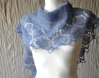 Denim Blue Hand Knit Shawl, Niagara Modern Scarf, Hand Knit Lace Shawl, Lace Knit Scarf in Antiqued Aqua, Winter Shawl,