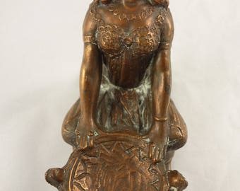 Antique Art Nouveau - Bronze Egyptian Woman Incense Burner - Weidlich Bros WB