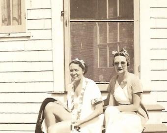"Vintage Snapshot ""Beachgoers"" Girlfriends Headscarf Sunglasses Bathing Cap Screen Door Found Vernacular Photo"