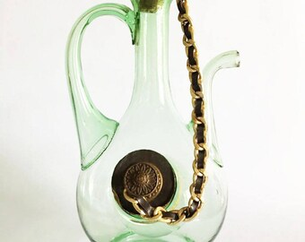 Vintage Green Blown Glass Wine Jug with Ice Pocket / DemiJohn in Green