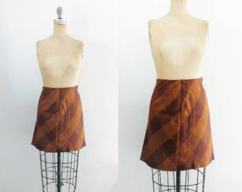 Vintage Brown Plaid Mini Skirt Wool Mini Skirt Plaid Wool Skirt Wool Plaid Skirt Wool Mini Skirt 60s Mini Size 4 Size 6 Size 8 Small Medium