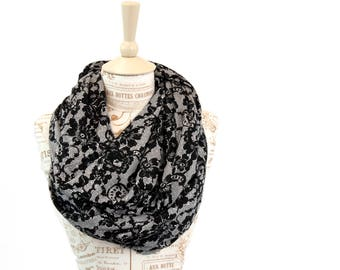 Lace Infinity Scarf, Gift for Her, Black Scarf, Lace Scarf, Printed Scarf, Womens Scarf, Coworker Gift, Girlfriend Gift Wife Gift Mom Gift