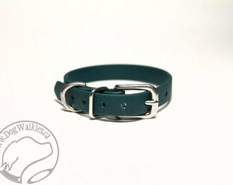 "NEW - Pine Green Little Dog Collar - 1/2"" (12mm) Thin Beta Biothane Dog Collars - Waterproof Small Dog Collar"