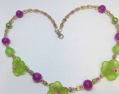 Lime Green & Pink Pansy Flower Necklace Handmade Necklace-Gifts for women-Gifts for her-Ladies Jewellery-Ladies gifts handmade jewellery