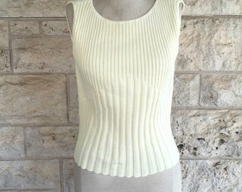 90's Top Cream Ribbed Sweater Tank Top Cream Medium 90's Ribbed Tank Top Sweater by Brand New hipster summer sweater sleeveless