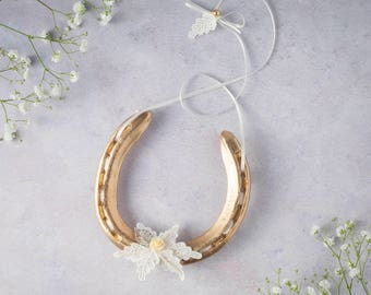 Gold Charlotte Lace Leaf and Flower Lucky Wedding Horseshoe