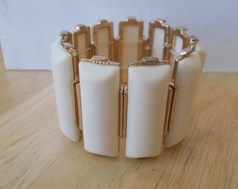 Gold Tone and Cream Color Wide Stretch Cuff Bracelet