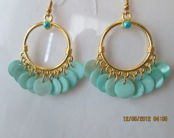 Gold Tone  Hoop Earrings  with and Light Blue Mother of Pearl Disc Dangles