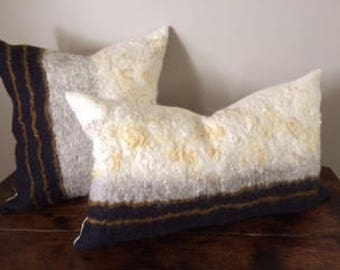 One of a Kind handfelted merino wool pillow