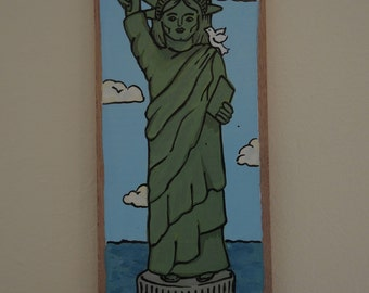 Statue of Liberty: OOAK folk art painting on cigar box lid, 4th of July