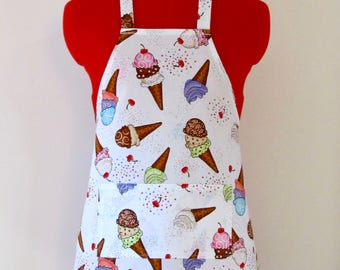 Kids Apron - Ice Cream Childrens Apron - Childs Apron - Kitchen Accessory